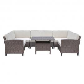 Komplekt CREDA patjadega, laud ja nurgadiivan