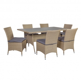 Komplekt LAGUNA patjadega, laud ja 6 tooli