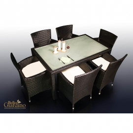Aiamööbli komplekt Bello Giardino CAPITALE tumepruun, 6 tooli + laud