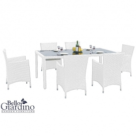Aiamööbli komplekt Bello Giardino CAPITALE valge, 6 tooli + laud
