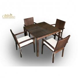 Aiamööbli komplekt Bello Giardino ADORAZIONE tumepruun, 4 tooli + laud