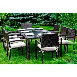 Aiamööbli komplekt Bello Giardino OMBROSO tumepruun, 8 tooli + laud
