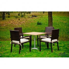 Aiamööbli komplekt Bello Giardino CARINO tumepruun, 4 tooli + laud