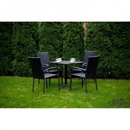 Aiamööbli komplekt Bello Giardino QUATTRO must, 4 tooli + laud