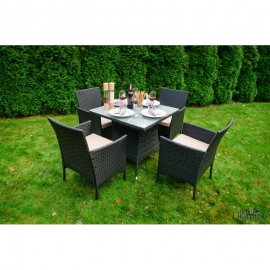 Aiamööbli komplekt Bello Giardino NERO must, 4 tooli + laud