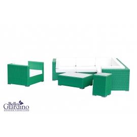 Aiamööbli komplekt Bello Giardino METROPOLI roheline, diivan + tugitool + 2 lauda