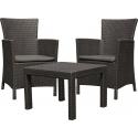 Aiamööbli komplekt Rosario laud ja 2 tooli patjadega, grafiit