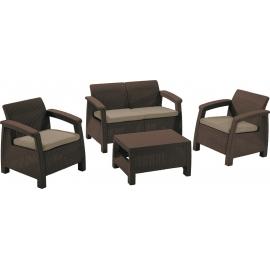 Aiamööbli komplekt Corfu laud, diivan ja 2 tooli patjadega, pruun