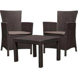 Keter aiamööbli komplekt Rosario laud ja 2 tooli patjadega, pruun
