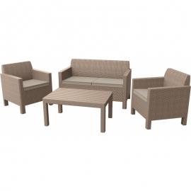 Keter aiamööbli komplekt Orlando laud, diivan ja 2 tooli patjadega, cappucino