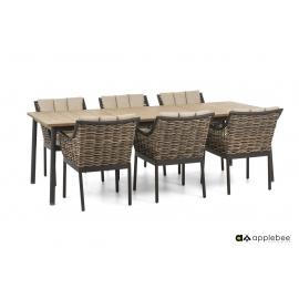 Aiamööbli komplekt Apple Bee MILOU tiik / hall, 6 tooli + laud