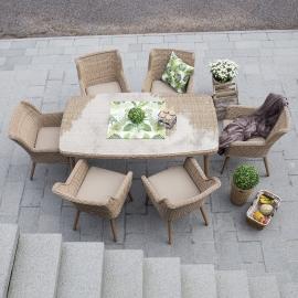 Aiamööbli komplekt RETRO laud ja 6 tooli