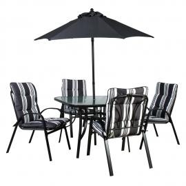 Aiamööbli komplekt Quatro laud, 4-tooli ja päikesevari