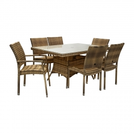 Aiamööbli komplekt WICKER laud ja 4 + 2 tooli, cappuccino