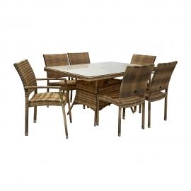 Aiamööbli komplekt WICKER laud ja 6+2 tooli, cappuccino