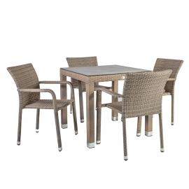 Aiamööbli komplekt LARACHE laud ja 4 tooli, tumehall