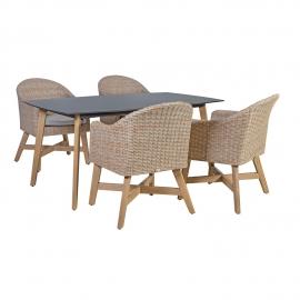 Aiamööbli komplekt HENRY laud ja 4-tooli