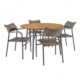 Aiamööbli komplekt GREENWOOD laud ja 4 tooli