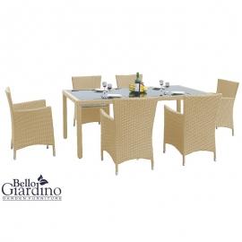 Aiamööbli komplekt Bello Giardino CAPITALE beež, 6 tooli + laud