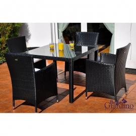 Aiamööbli komplekt Bello Giardino PAZZO must, 4 tooli + laud