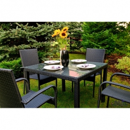 Aiamööbli komplekt Bello Giardino ECCELLENTE must, 4 tooli + laud