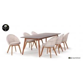 Aiamööbli komplekt Apple Bee FLEUR tiik / valge, laud + 6 tooli