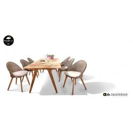 Aiamööbli komplekt JUUL tiik / pruun, laud + 6 tooli