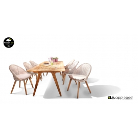 Aiamööbli komplekt JUUL tiik / valge, laud + 6 tooli