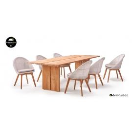 Aiamööbli komplekt JOIE tiik / valge, laud + 6 tooli