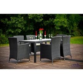 Aiamööbli komplekt Bello Giardino CAPITALE must, 6 tooli + laud