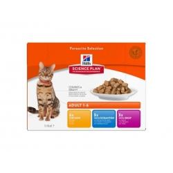 Hill´s Feline Adult Multipack kana/kala/veis kassikonserv 12x85g