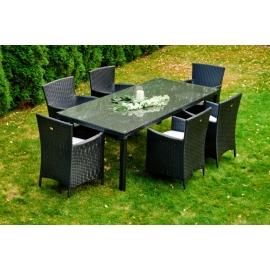 Aiamööbli komplekt Bello Giardino GUSTOSO must, 6 tooli + laud