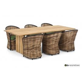 Aiamööbli komplekt COCOON pruun, 6 tooli + laud