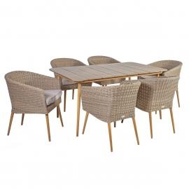 Aiamööbli komplekt NORWAY, laud ja 6 tooli