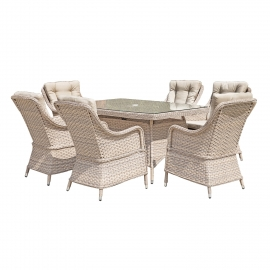 Aiamööblikomplekt EDEN laud ja 6 tooli