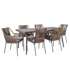 Aiamööblikomplet ANDROS laud ja 6-tooli