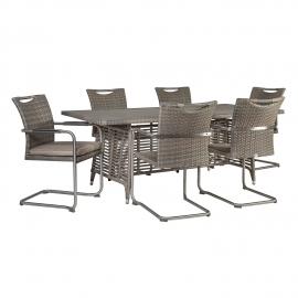 Aiamööbli komplekt ZENICA patjadega, laud ja 6 tooli