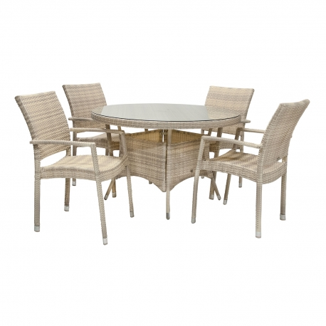 Aiamööbli komplekt WICKER laud ja 4 tooli, beež