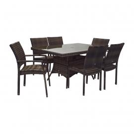 Aiamööbli komplekt WICKER laud ja 4 + 2 tooli, tumepruun