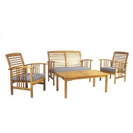 Aiamööblikomplekt FINLAY patjadega, laud, pink ja 2 tooli