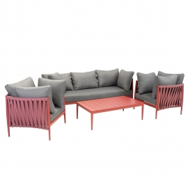 Aiamööblikomplekt BREMEN laud, diivan ja 2 tooli, punane